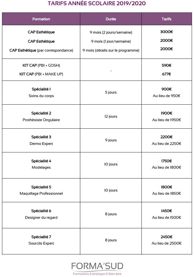 TARIFS ECOLE 2019-2020